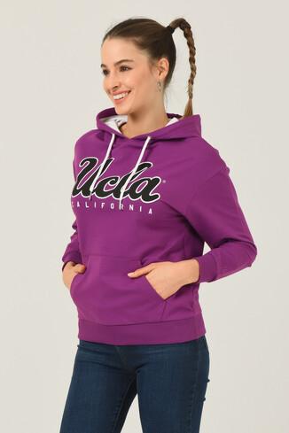 UCLA - VISALIA Mor Kapüşonlu Baskılı Kadın Sweatshirt