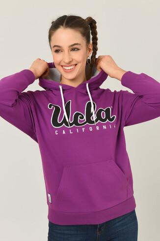 UCLA - VISALIA Mor Kapüşonlu Baskılı Kadın Sweatshirt (1)