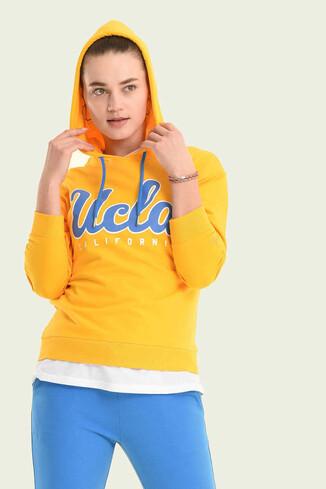 UCLA - VISALIA Sarı Kapüşonlu Kadın Sweatshirt (1)
