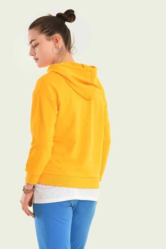 VISALIA Sarı Kapüşonlu Kadın Sweatshirt - Thumbnail (5)
