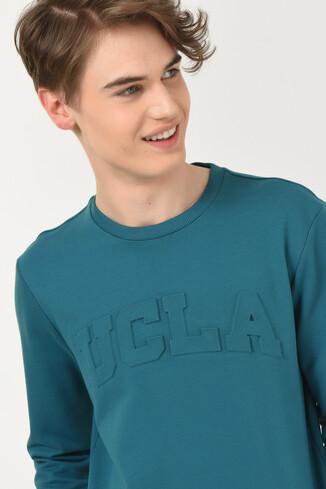 UCLA - WEYBURN Mavi Bisiklet Yaka Baskılı Erkek Sweatshirt