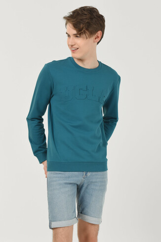 UCLA - WEYBURN Mavi Bisiklet Yaka Baskılı Erkek Sweatshirt (1)