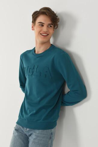 WEYBURN Mavi Bisiklet Yaka Baskılı Erkek Sweatshirt - Thumbnail (4)