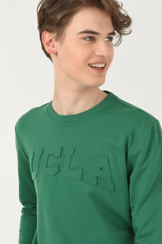 UCLA - WEYBURN Yeşil Bisiklet Yaka Baskılı Erkek Sweatshirt (1)
