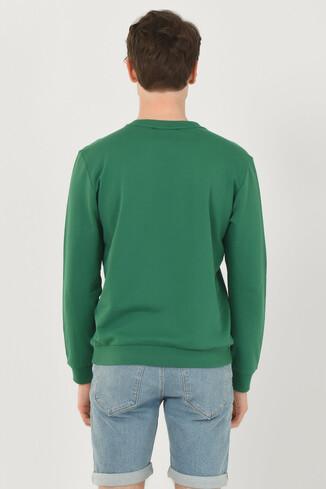 WEYBURN Yeşil Bisiklet Yaka Baskılı Erkek Sweatshirt - Thumbnail (3)