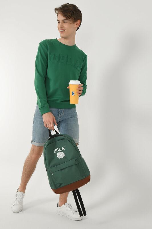 WEYBURN Yeşil Bisiklet Yaka Baskılı Erkek Sweatshirt - Thumbnail